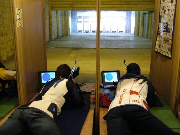 Michael Madigan and Joe O'Donohoe shooting in the final